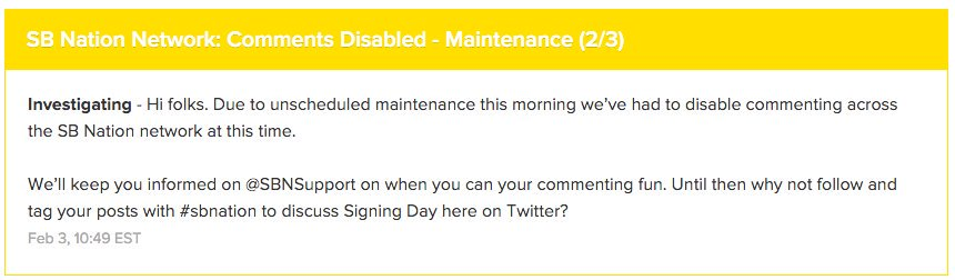 Commenting is temporarily disabled on all #SBNation sites. You can follow the status => https://t.co/Z4S0eaTGjp https://t.co/XF77PDdRBJ