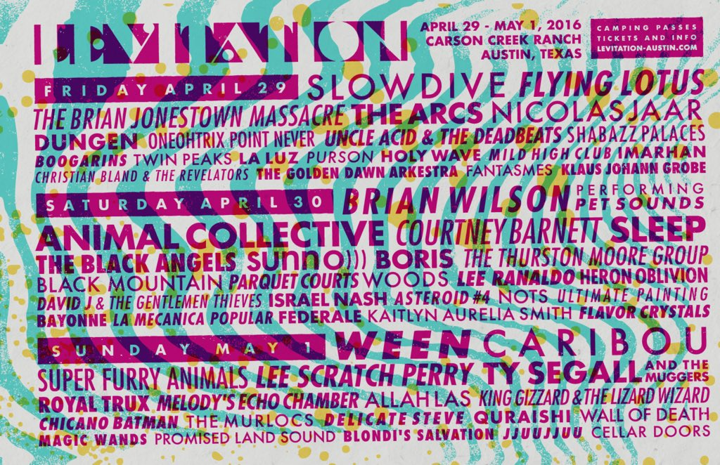 Hi. Ween, Courtney Barnett, The Arcs + more have been added to the #LEVITATION2016 lineup!