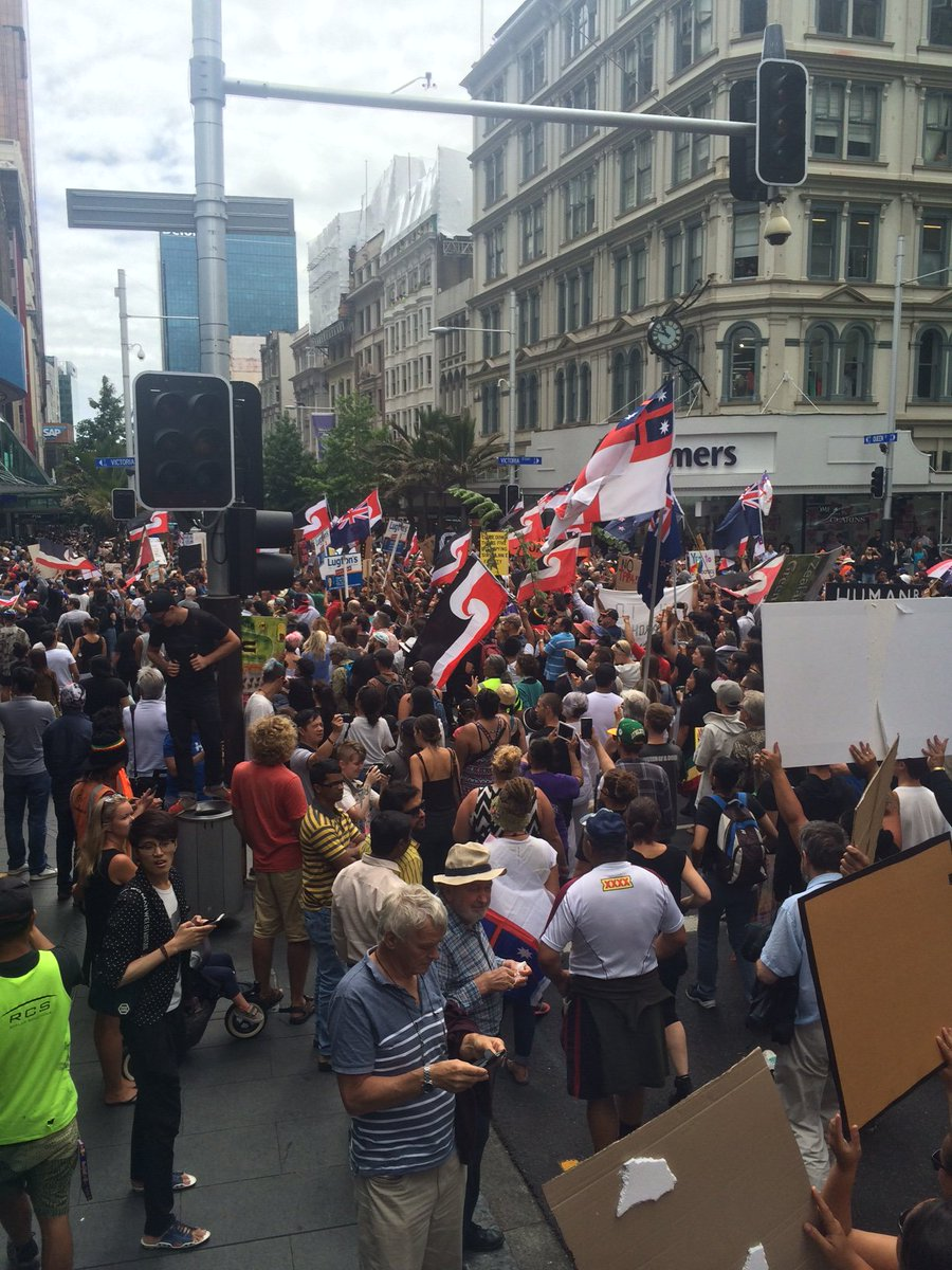 Protesters have moved to Queen St, photos via our man on the scene @andrewdickens2 #tpp https://t.co/FsS84kG2MX