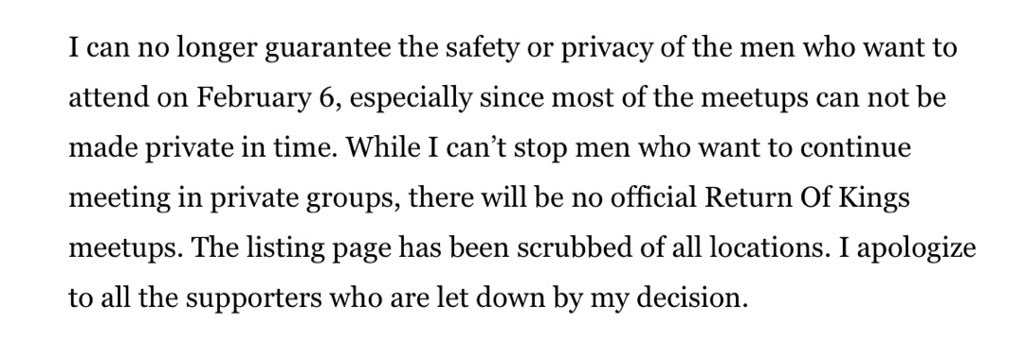 A bunch of pro-rape douches cancel their global meet up over fear of safety and privacy. The irony, it burns. https://t.co/FSdn8CSlzm