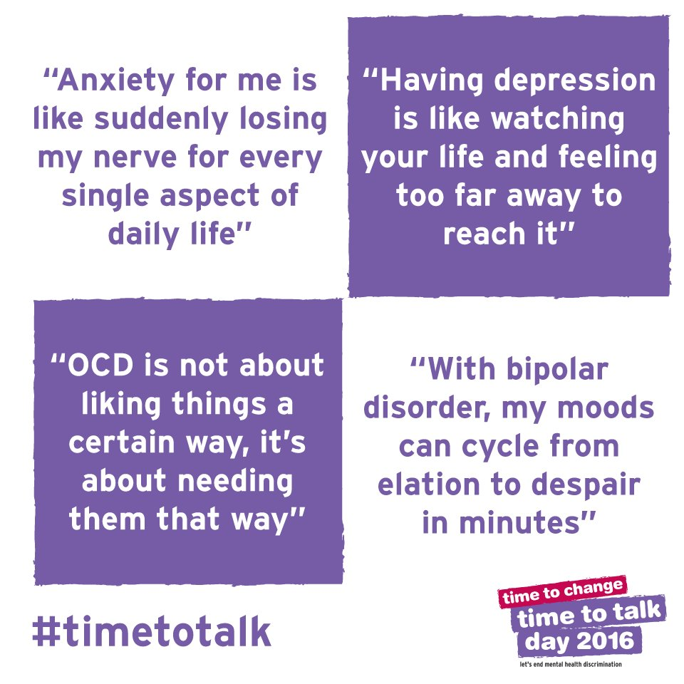 Mental health problems affect 1 in 4 of us every year. Let's get talking: https://t.co/RllqQX0V7L #timetoalk https://t.co/NmHQZSpQJV