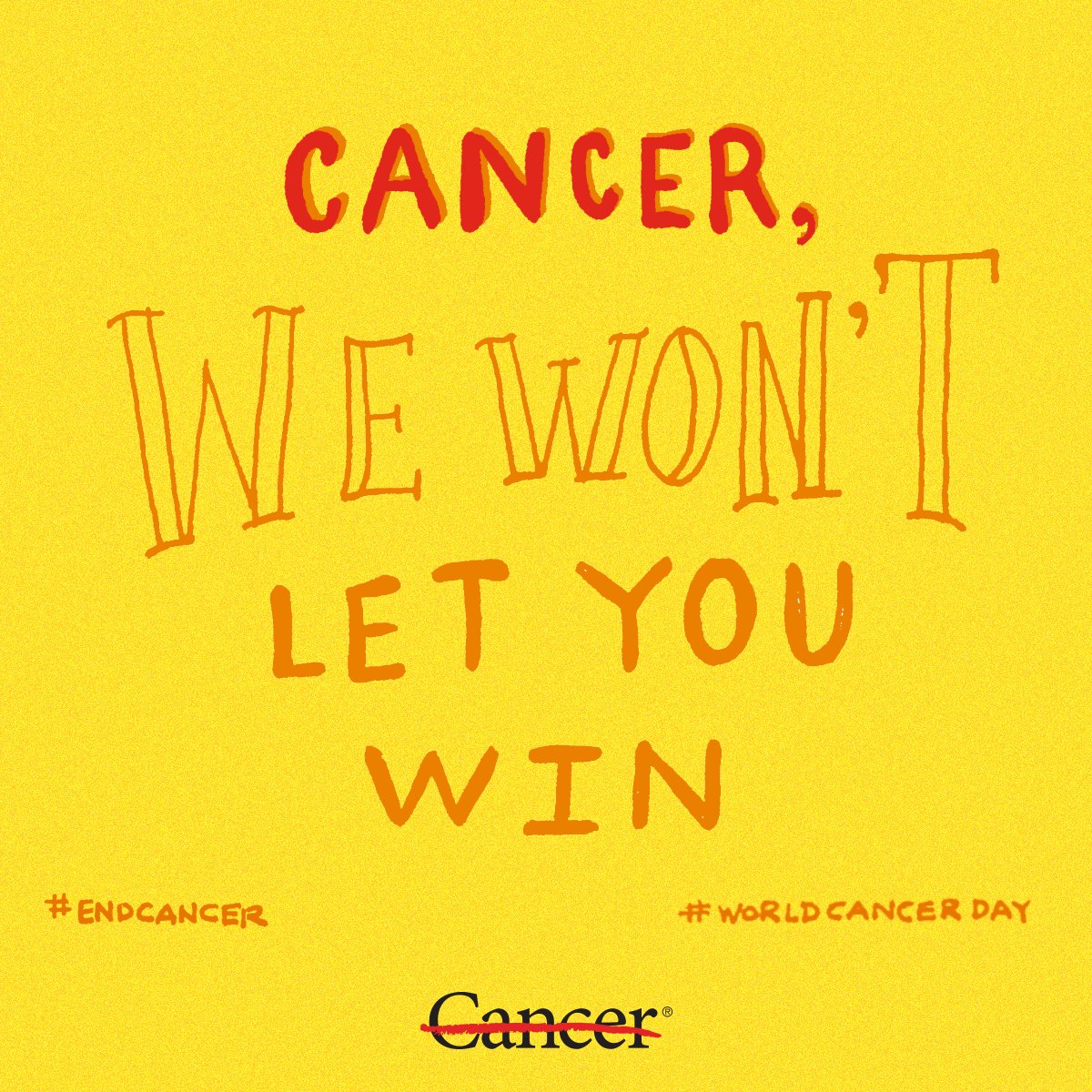 We are stronger together. This #WorldCancerDay, show your resolve to #endcancer by RTing this graphic. https://t.co/9Ab91EgZAe