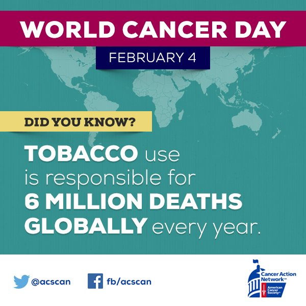 It's #WorldCancerDay. Death from tobacco use is a global epidemic. Learn more, get involved: https://t.co/Wn9L2AH3MP https://t.co/xmZsO5FHEI