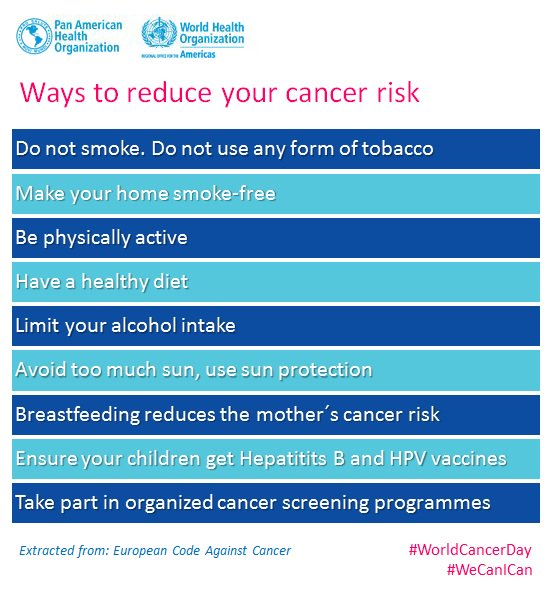 #WorldCancerDay #WeCanICan These are ways to reduce your #cancer risk: https://t.co/Zs8MZPUI0g