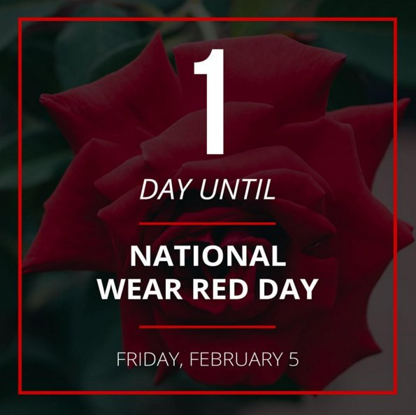 Tomorrow is #NationalWearRedDay in support of @GoRedForWomen. Don't forget to wear red in support! #charity #gored https://t.co/jFWXFH8dVe