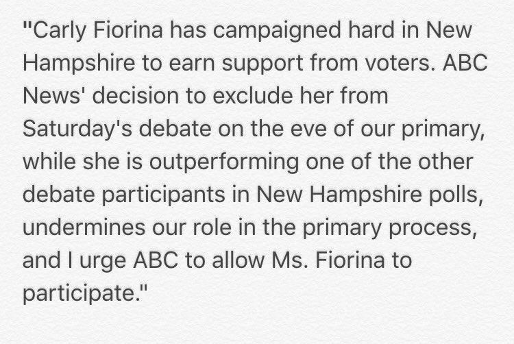 My statement on @abcnews #FITN debate: https://t.co/tlWmBjaXl5