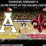 Come out and support @AppStateWBB and @AppStateMBB tonight as they take on Louisiana Lafayette at The Holmes Center https://t.co/iKO5QXBlln