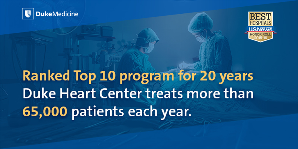 Heart transplants. Heart disease. Overall cardiology. Why Duke's Heart Center? https://t.co/WGa8htHAll https://t.co/2DwoWNY87S