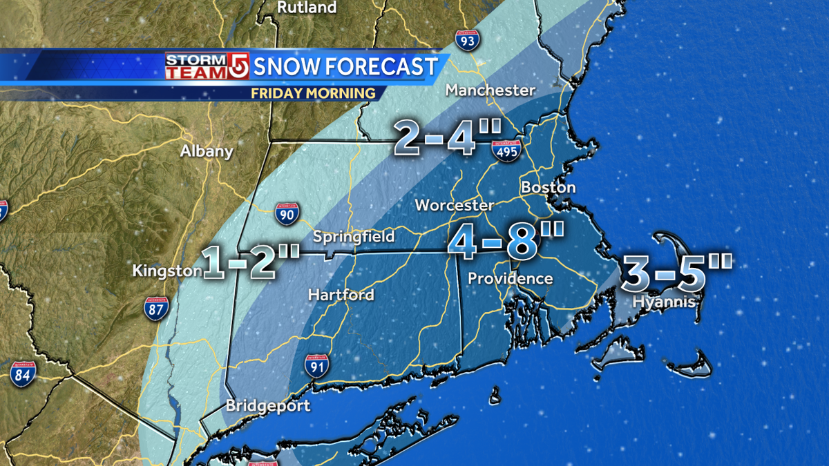 "Adjusted snowfall forecast: higher totals farther NW. ""Pasty,"" snow-hard to move. Major AM commute issues. #wcvb https://t.co/T0sCUSjq5m"