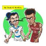 Game of Grooming. Stache vs Brow. #StevenAdams #AnthonyDavis #Thunder #pelicans #nbaontnt https://t.co/KCUQJ4GQYE