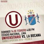 ????Torneo Apertura - Fecha 3 ⚽ @Universitario vs La Bocana ???? Domingo 14 febrero ❤???? ⌚ 4:00pm ???? Estadio Nacional https://t.co/uvyIfMl63l