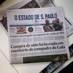 Lula é assunto policial em dose dupla na capa do Estadão. https://t.co/6U1riw0A9z