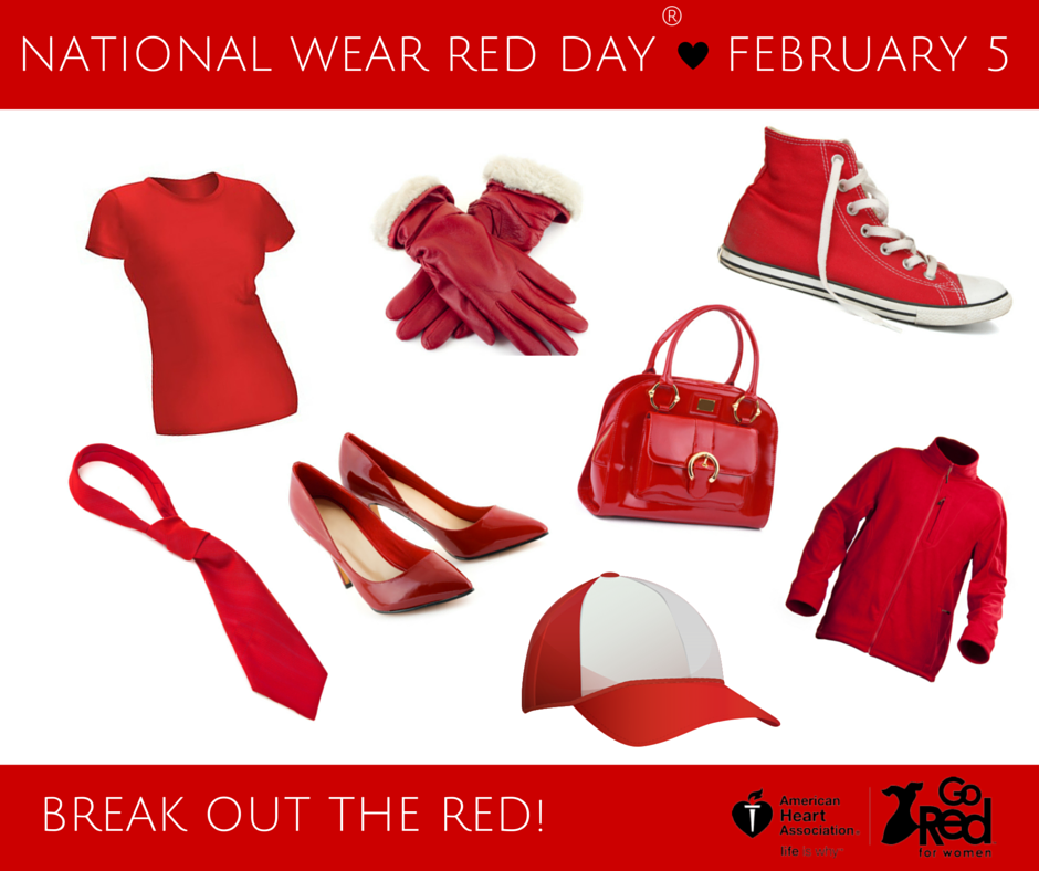 Wear Red on National Wear Red Day, Friday, Feb. 5!  https://t.co/iiG9sHZU2r #GoRedWearRed https://t.co/b1L0G98TCr