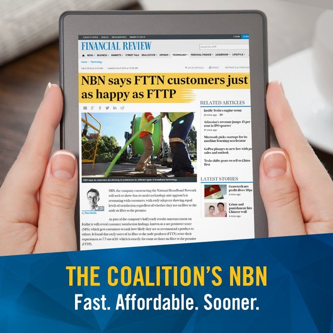 #NBN customer research shows levels of satisfaction with FTTN are exactly the same as those using FTTP #commsau https://t.co/20ULAYKnle