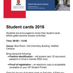 Good news! Old Chemistry Building will be open on Sat, 6 Feb for student cards.@TuksFM1072 @UP_SRC @TuksFMNews https://t.co/WPbTC4dyXs