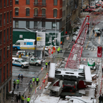 UPDATED: One person dead, three injured as high winds topple crane in TriBeCa, mayor says: https://t.co/Eu1kooKlIA https://t.co/iKNkR4MNE1