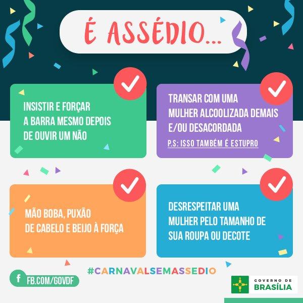 Neste Carnaval, seja no bloco, na rua, na chuva ou na festinha em casa, respeite as mulheres. #carnavalsemassedio https://t.co/CIOC9hs4ul