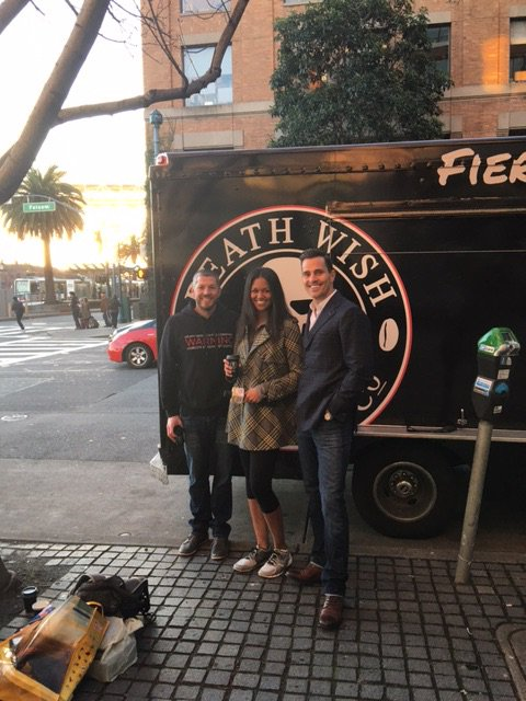 Kicking off my day in SF with @QuickBooks SBBG winner @Deathwishcoffee #TeamSmallBiz https://t.co/W1HkEly8oY