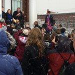 .@BernieSanders addressing an overflow crowd standing outside despite a snowstorm. https://t.co/IX7qhxE4w5