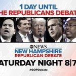 1 day until the @ABC News #GOPDebate in New Hampshire. Watch Saturday at 8/7c. https://t.co/sb1sEqFnYm