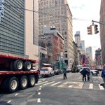 Flatbeds being rolled into Lower #Manhattan as part of the crane removal process. @PIX11News @5 & @6 #NYC https://t.co/qocZQmONCR