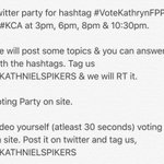 Voting & Twitter party today. 3pm, 6pm, 8pm & 10:30 pm. COOPERATE for the love for Kathryn! ???? #VoteKathrynFPP #KCA https://t.co/SWQmOMc2bu