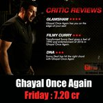 @IAMSUNNYDEOL Ghayal Once Again passes the Friday test and earns 7.20 Crores at the box office. #Filmymantra https://t.co/NXSYrS3TOT