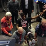 Heres Jimmy Butler being taken off the court with an apparent left knee injury. #Bulls https://t.co/oArjBueDLc