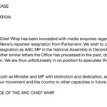 ANC PARLY STATEMENT: Resignation of Cde Nhlanhla Nene from Parliament https://t.co/clRWDPhwx0