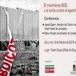 """Conferencia en #Sevilla """"El movimiento BDS y la lucha contra el apartheid israelí"""" https://t.co/rYakg2SEEk @RESCOP1 https://t.co/TtLdjEGeuZ"""