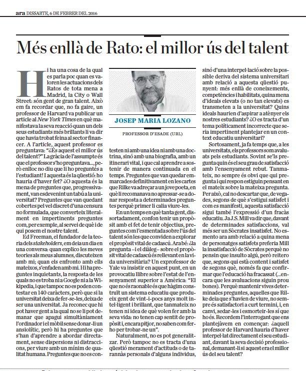 """""""El millor ús del talent"""": imprescindible article de @JosepMLozano avui al @diariARA. Per guardar i rellegir sovint! https://t.co/iWi36hjdeZ"""