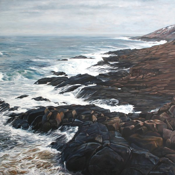"""Back to the Ocean, Cape Spear NF"" 40 x 40 oil painting by Susan Outlaw #TwitterFirstFriday https://t.co/rQef4CCmdC https://t.co/oIx8Nveanf"
