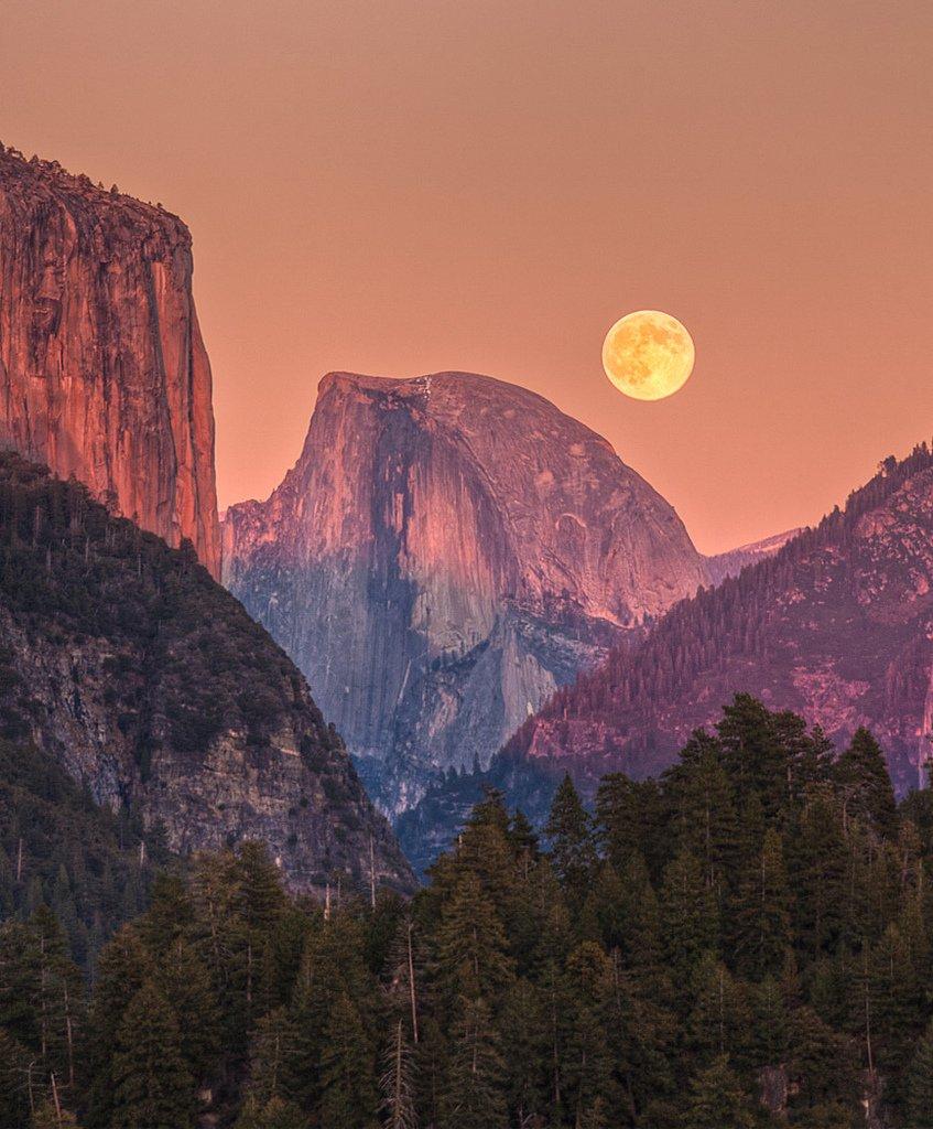 The moon hangs low over Yosemite, CA | Photography by ©Jeff Sullivan https://t.co/QafjtOMAXz