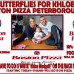 . @bostonpizza locations in Peterborough step up for #butterfliesforKhloe -> https://t.co/0IERHAtQea https://t.co/FQToqDGmaQ