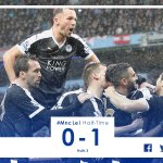 Half-time: Manchester City 0-1 Leicester City #MncLei https://t.co/TyATrc6GU8