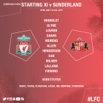 The #LFC starting line-up and substitutes to face @SunderlandAFC in full... https://t.co/RTOIrhcYiB