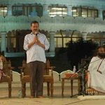 Delhi CM @ArvindKejriwal and his wife @KejriwalSunita with @SriSri at Art of living ashram https://t.co/gvPJa2Y4N4
