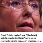 Fiscal Toledo declaro q Bachelet sabia del caso Caval pero es irrelevante para causa....pero Bachelet mintió a Chile https://t.co/tI46sKraZA