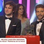 """El #Goya2016 a la mejor canción original es para @pabloalboran y @LucasVidalmusic por """"Palmeras en la nieve"""". https://t.co/FQUiIlim38"""