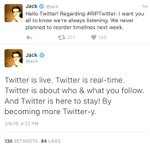 JUST IN: Twitter CEO @Jack says report of $TWTR rolling out algorithmically-sorted timelines is not true. https://t.co/NeAltZxLoN