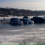 Another picture of some of the cars that went through the ice during Lake Genevas Winterfest. Pic from Grant White. https://t.co/9K5YMJlQud
