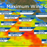 96 km/h gust reported in Swift Current. 70-80km/h gusts now west of Saskatoon pushing toward the city. #yxe #skstorm https://t.co/jxIfoFjG83