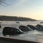 Whoa! My girlfriends mom texted me this pic from Lake Geneva. Several cars submerged. Danger: thin ice! @WISN12News https://t.co/OYdTt9lLn2