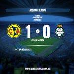 Culmina la primera mitad en la cancha del @EstadioAzteca @ClubAmerica 1-0 @ClubSantos #VamosAmérica https://t.co/7tMYR6HVn4