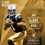 2015 Offensive Player Of The Year: @Panthers QB @CameronNewton! #NFLHonors https://t.co/GoNjASYixJ