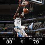 #Grizzlies lead the #Mavs heading into the 4th, 80-79. #Grizz shooting 52% from the field. https://t.co/uDVhbAg12p