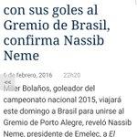 ¡ÚLTIMA HORA! Miler Bolaños viajará mañana a Brasil para unirse al @Gremio confirmó Nassib Neme al @marcadorec [SB] https://t.co/0qKWDSfldK