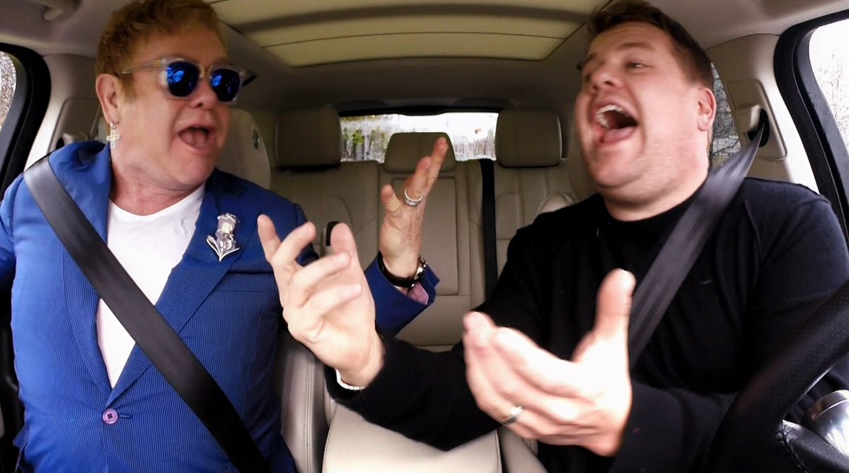 Elton joins @JKCorden for #CarpoolKaraoke tonight on @latelateshow which airs after the #SuperBowl #LateLateShow https://t.co/sRFjCmhzxu