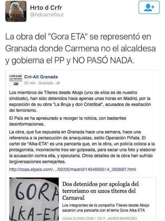 Lo que en Granada se entiende, en Madrid es apología de terrorismo? La obra Gora ETA ya se hizo en Granada. https://t.co/bjNOyX37bz