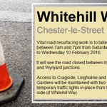 Drive in Chester-le-Street? Vital resurfacing works are taking place on Whitehill Way: https://t.co/XfIR7rbkNQ https://t.co/xhiKXBoQJF